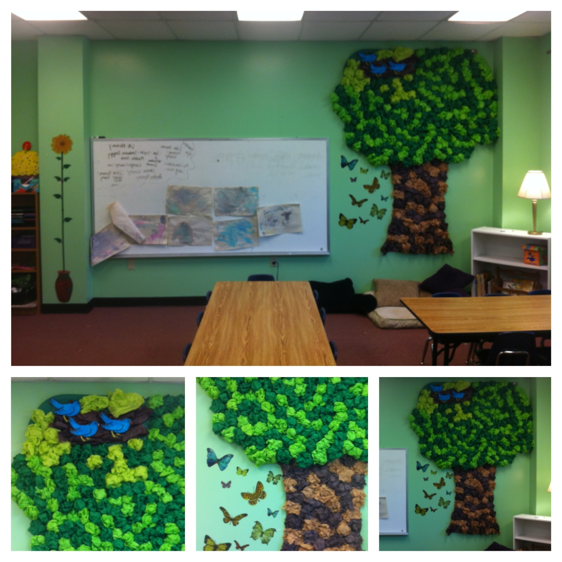 Newest My Classroom! Tree Made Out Of Tissue Paper And Butterfly Wall Regarding Preschool Classroom Wall Decals (View 10 of 15)