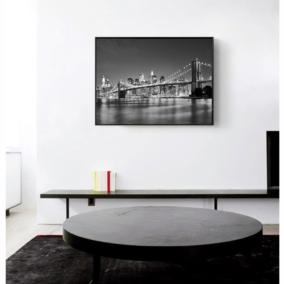 Newest New York Skyline Canvas Black And White Wall Art Pertaining To Modern New York City Brooklyn Bridge Black & White Pictures Canvas (Gallery 10 of 15)