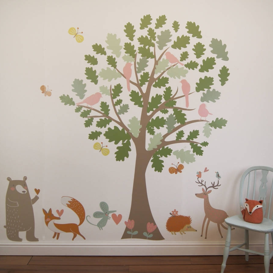 Newest Oak Tree And Animals Woodland Wall Stickersparkins Interiors For Oak Tree Wall Art (View 11 of 15)