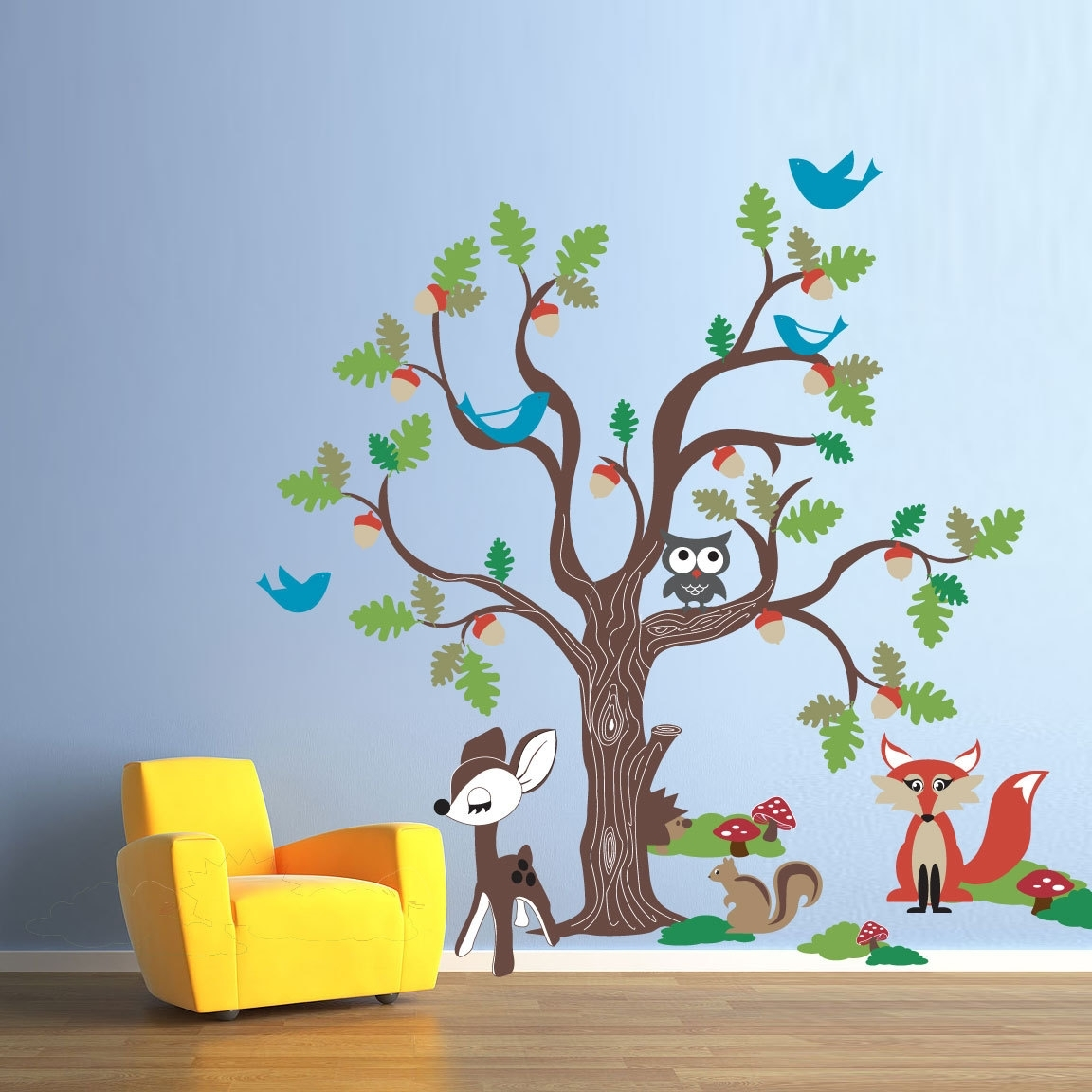 Newest Oak Tree Wall Art Within Vinyl Wall Decal Sticker Art – Oak Tree And Woodland Animals (View 7 of 15)