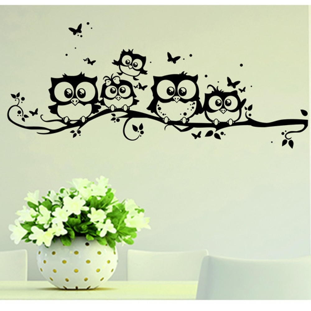 Newest Owl Wall Art Stickers With Wall Sticker Tree Animals Bedroom Owl Butterfly Wall Sticker Home (View 6 of 15)