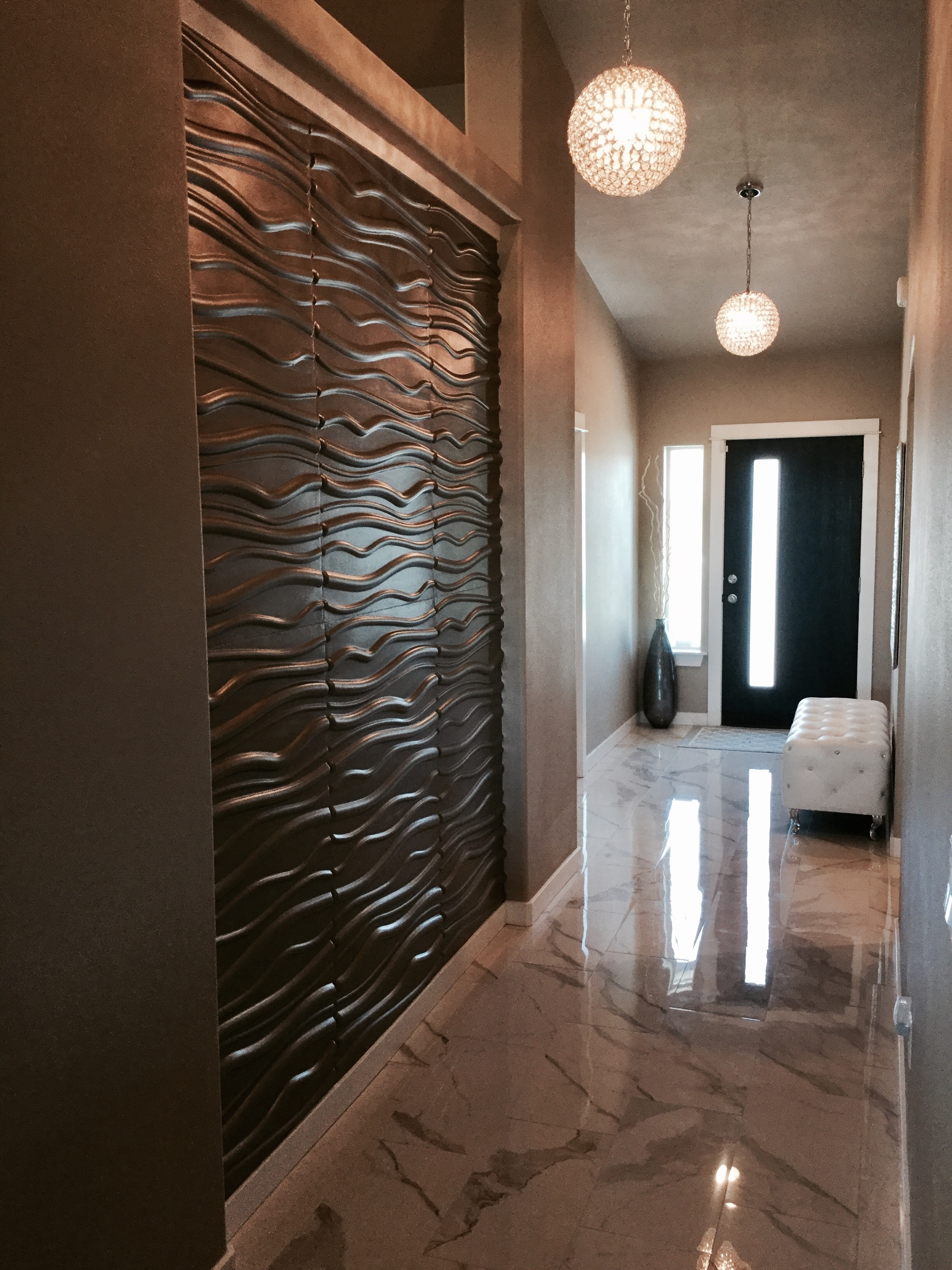 Newest Painting 3d Wall Panels With Regard To 3d Wall Panels In Hallway Using Metallic Memories Paint Color (View 6 of 15)