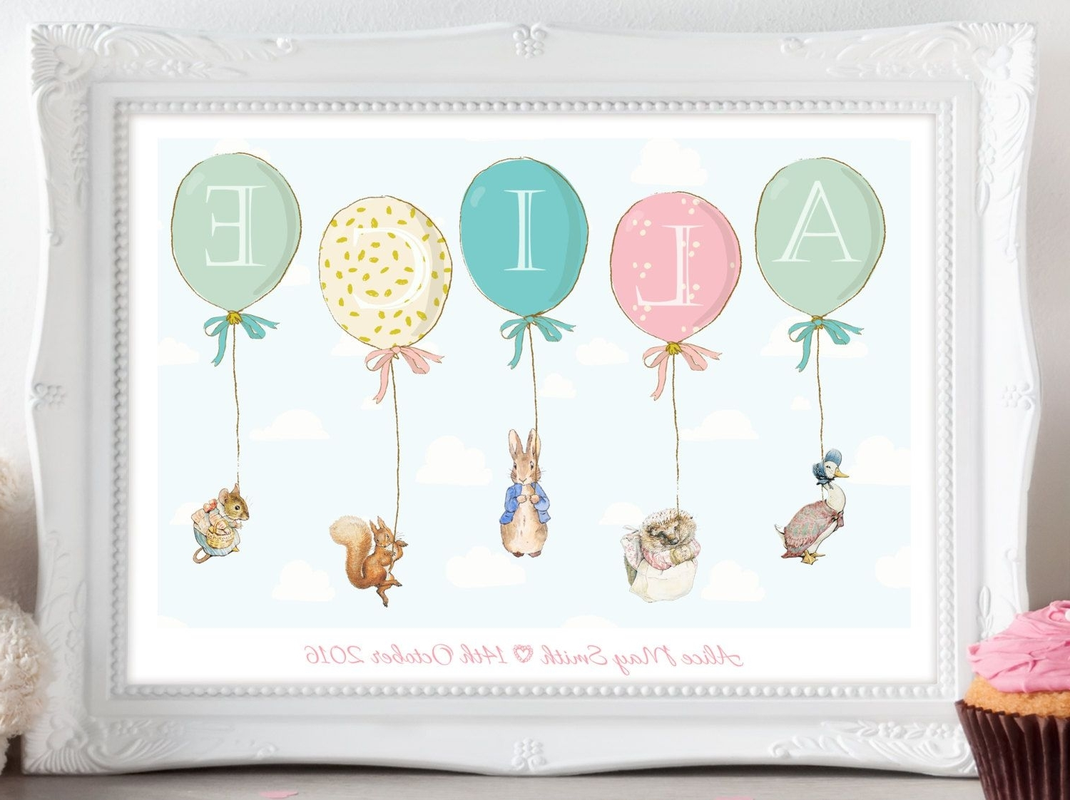 Newest Personalised Peter Rabbit Beatrix Potter Balloon Print Picture In Peter Rabbit Nursery Wall Art (Gallery 10 of 15)