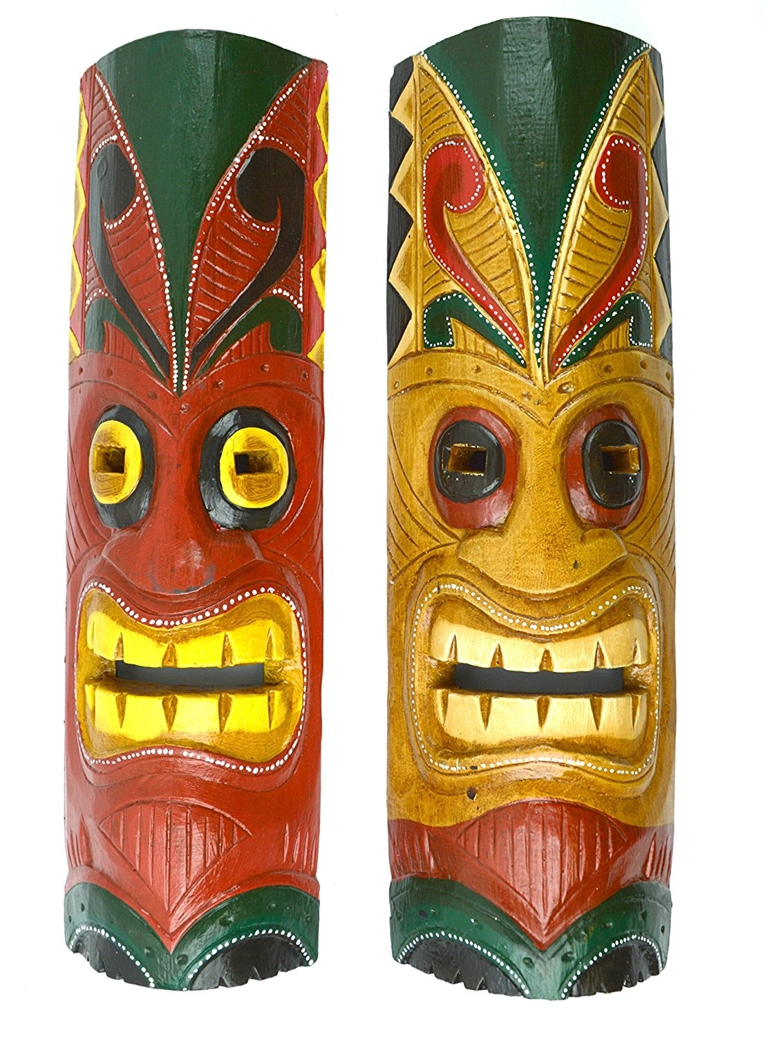 "Newest Polynesian Wall Art In 20"" Set Of 2 Handmade Tiki Mask Hawaiian Polynesian Wall Art (Gallery 14 of 15)"