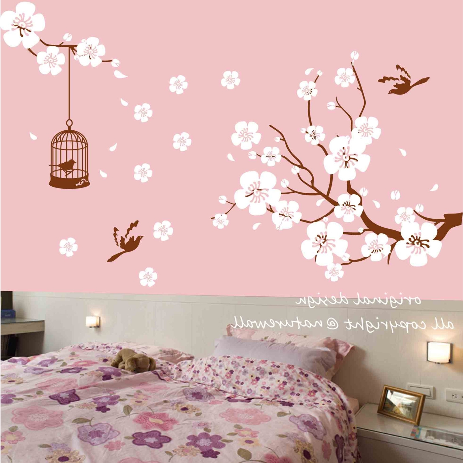 Newest Red Cherry Blossom Wall Art With Regard To Japanese Cherry Blossom Wall Decal At Home And Interior Design Ideas (View 12 of 15)