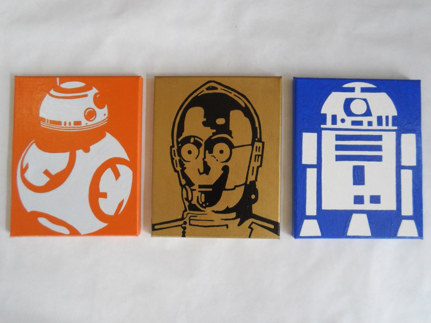 Newest Reserved – Star Wars Painted Canvas Wall Hangings / Wall Art – Set With Regard To Diy Star Wars Wall Art (View 9 of 15)