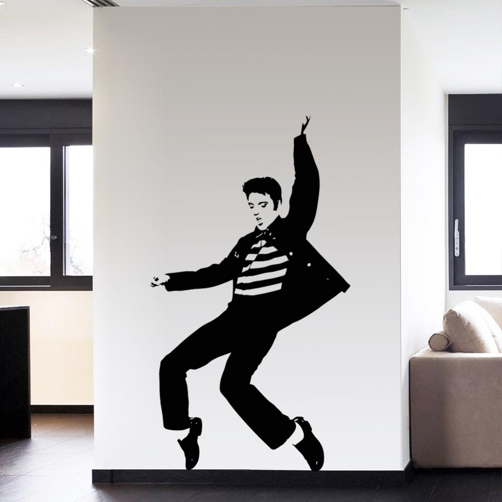 Newest Rock And Roll Wall Art With Regard To Pvc Fashion Dancing Elvis Presley Pattern Bedroom Wall Sticker (View 5 of 15)
