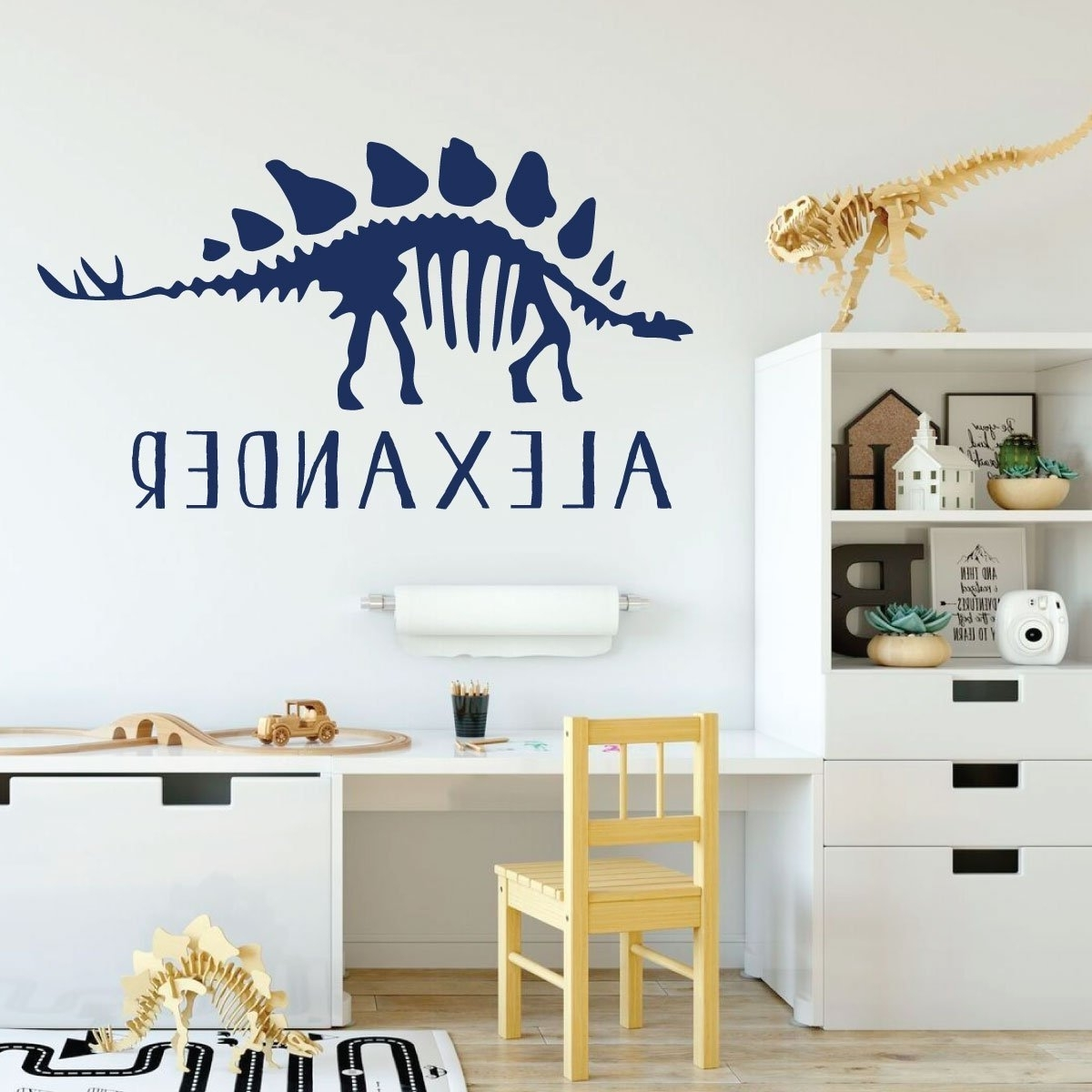 Newest Stegosaurus Skeleton Dinosaur Vinyl Wall Decal For Boys Room With Regard To Preschool Classroom Wall Decals (View 11 of 15)