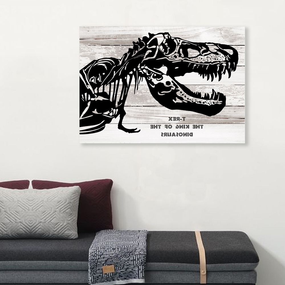 Newest T Rex 4 Dinosaur Canvas Art Painting Dinosaur Art For Kids Room Regarding Dinosaur Canvas & View Photos of Dinosaur Canvas Wall Art (Showing 4 of 15 Photos)