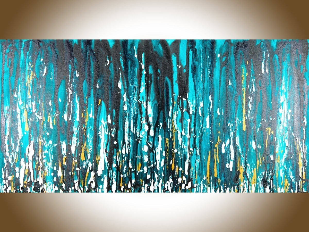 "Newest Teal And Black Wall Art With Meteor Showerqiqigallery 48""x24"" Stretched Canvas Original (View 7 of 15)"