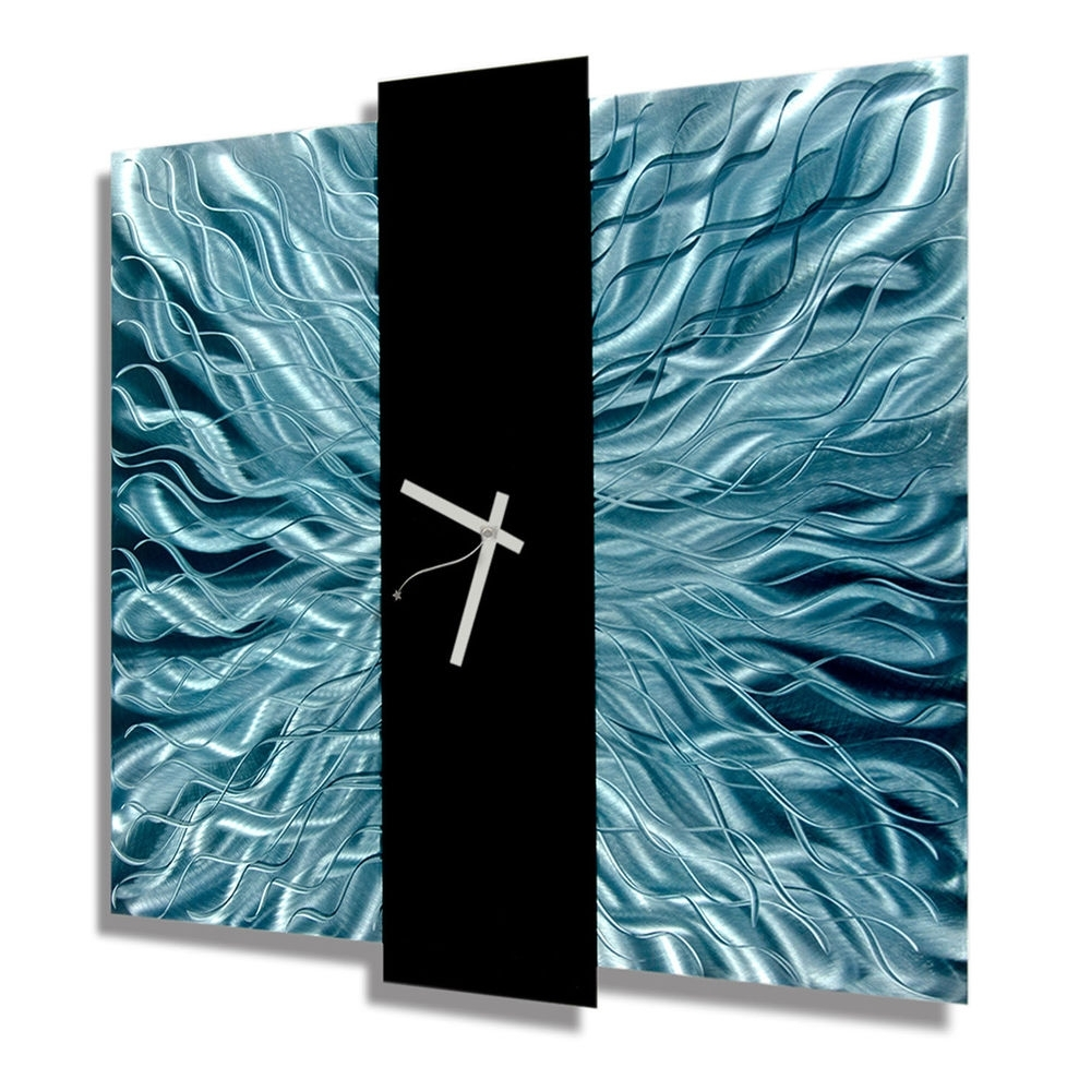 Newest Teal Blue & Black Metal Wall Clock – Contemporary Metal Wall Art In Teal And Black Wall Art (View 8 of 15)