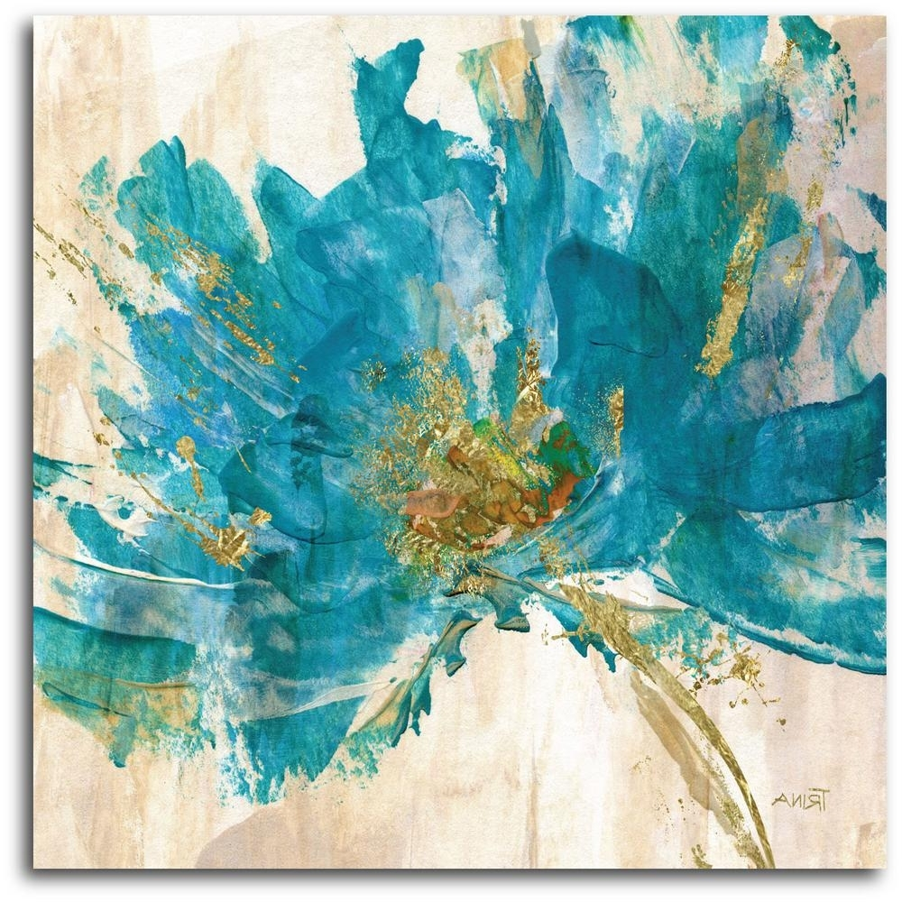 Newest Teal Flower Canvas Wall Art For Contemporary Teal Flower Canvas Wall Art Web Ac181T – The Home Depot (View 9 of 15)
