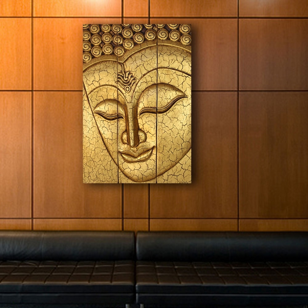 Newest Thai Buddha Face Statue Large Hand Carved Wooden Wood Wall Art Pertaining To Buddha Wooden Wall Art (View 8 of 15)