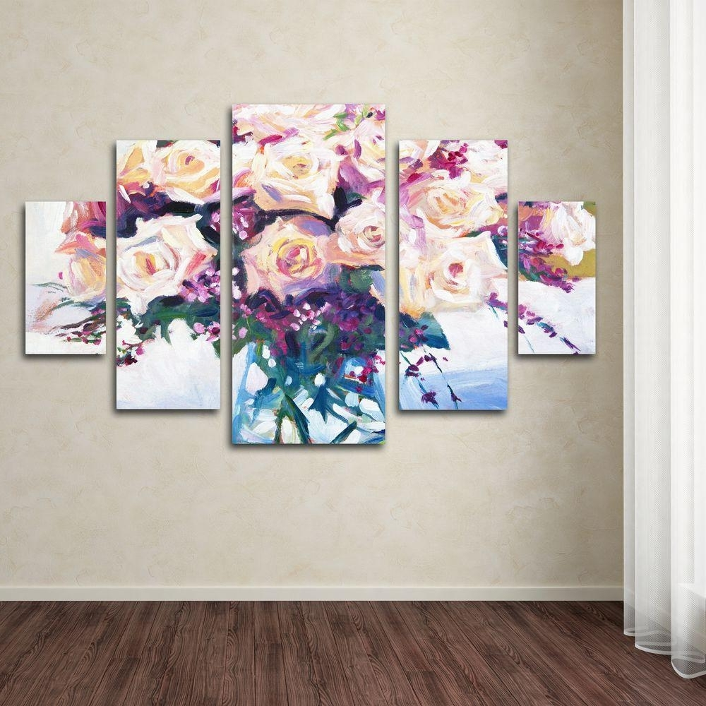 Newest Trademark Fine Art Roses In Glassdavid Lloyd Glover 5 Panel With Modern Glass Wall Art (View 10 of 15)