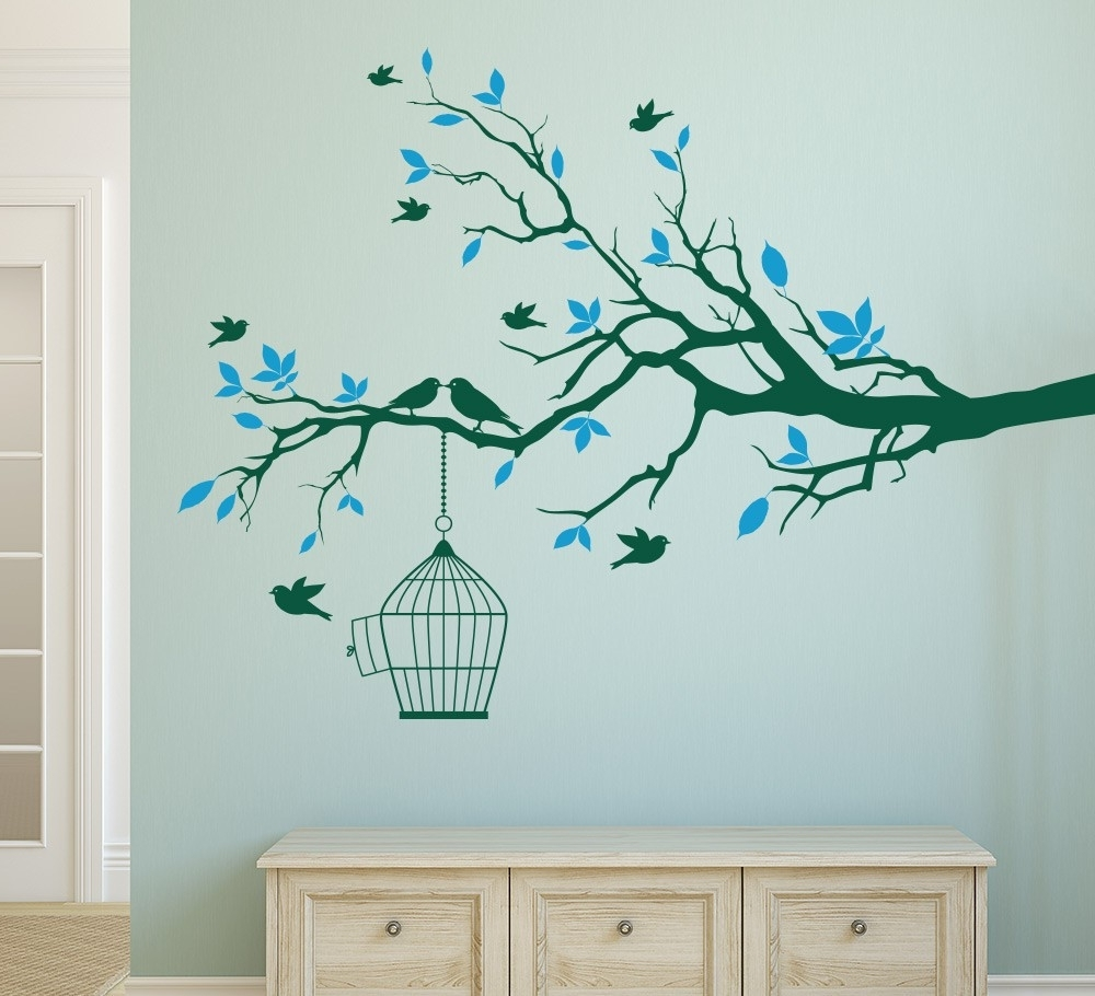 Newest Tree Branch With Bird Cage Wall Art Sticker Vinyl Wall Decals Wall Throughout Vinyl Wall Art Tree (Gallery 11 of 15)