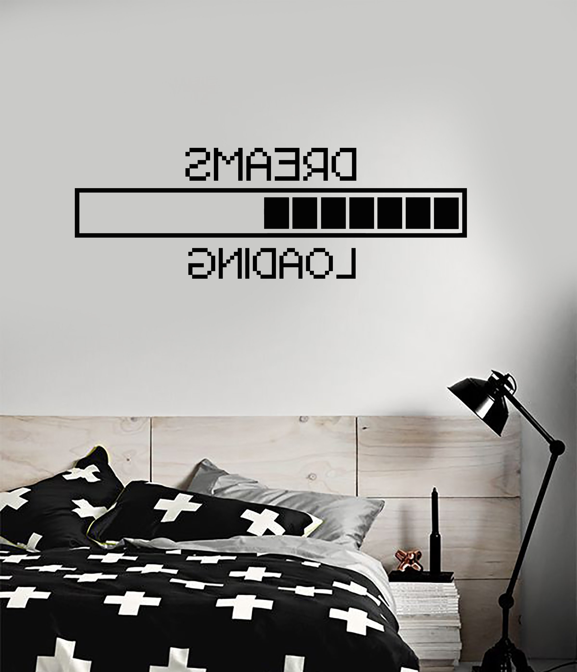 Newest Vinyl Wall Decal Dreams Geek Bedroom Loading Pixel Art Decor For Art Deco Wall Decals (View 12 of 15)