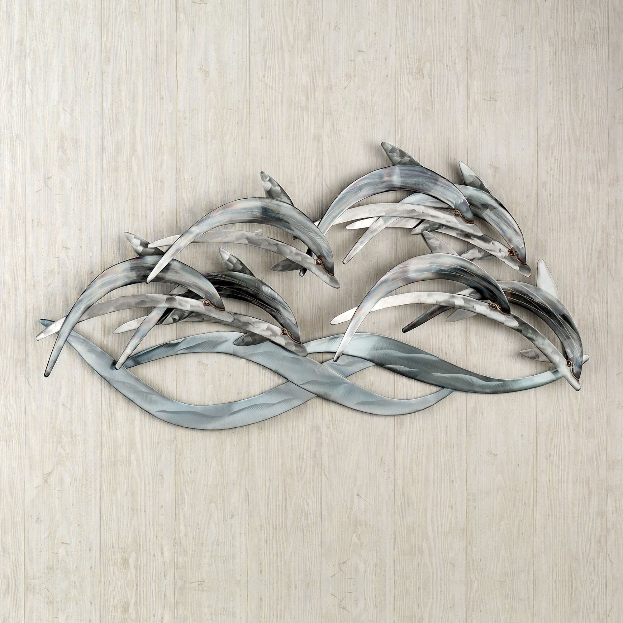 Newest Wave Dancers Dolphin Stainless Steel Wall Sculpture In Large Metal Wall Art Sculptures (Gallery 9 of 15)