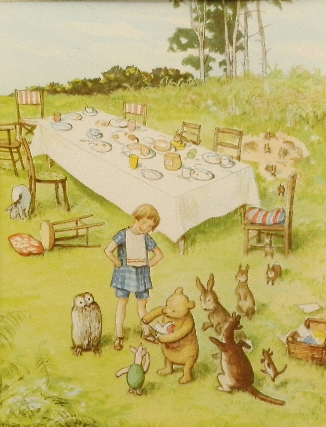 Newest Winnie The Pooh's Birthday Party Print W/mat, Vintage & Classic In Classic Pooh Art (View 11 of 15)