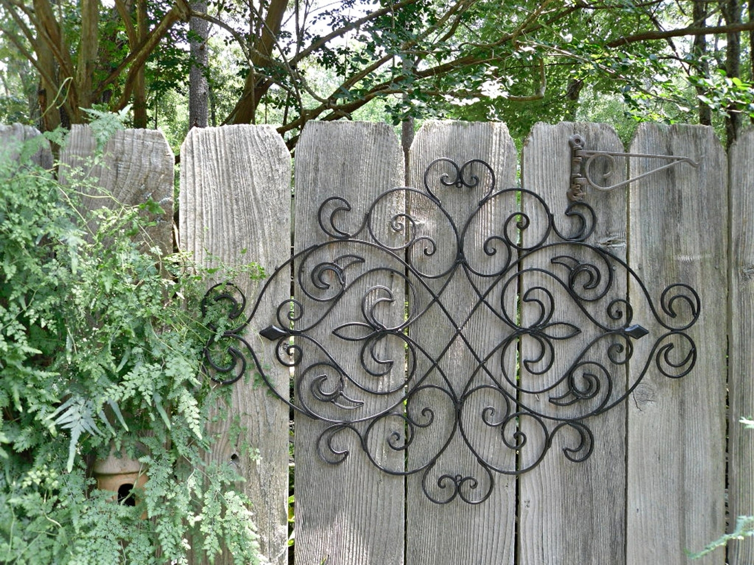 Newest Wrought Iron Wall Decor / Black Wall Decor/ Fleur De Lis In Iron Gate Wall Art (View 13 of 15)