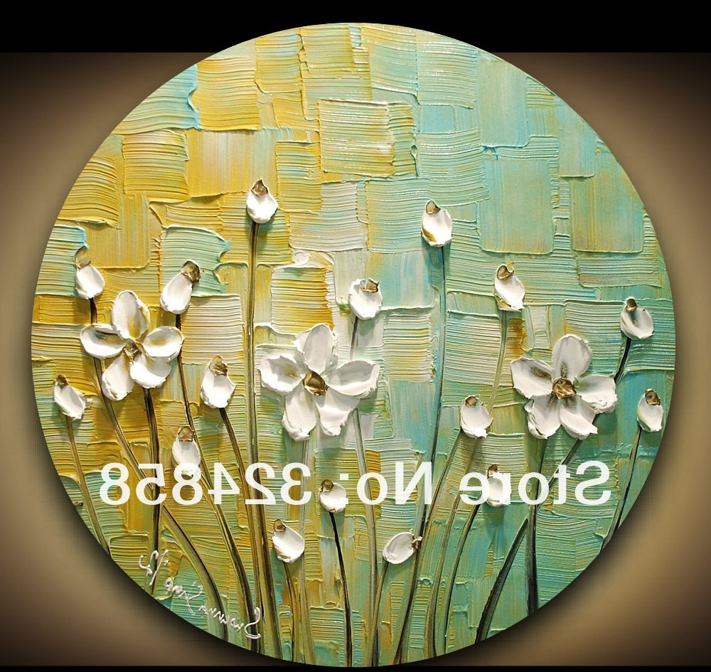 Newest Yellow And Green Wall Art Within Abstract Art Impasto Green Yellow White Blossom Modern Palette (View 8 of 15)