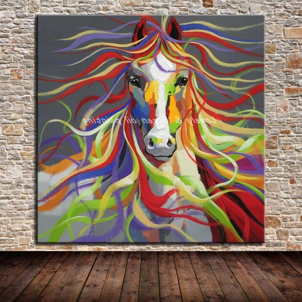 No Frame Hand Painted Modern Wall Art Pictures Living Room Home With Regard To Trendy Abstract Horse Wall Art (View 13 of 15)