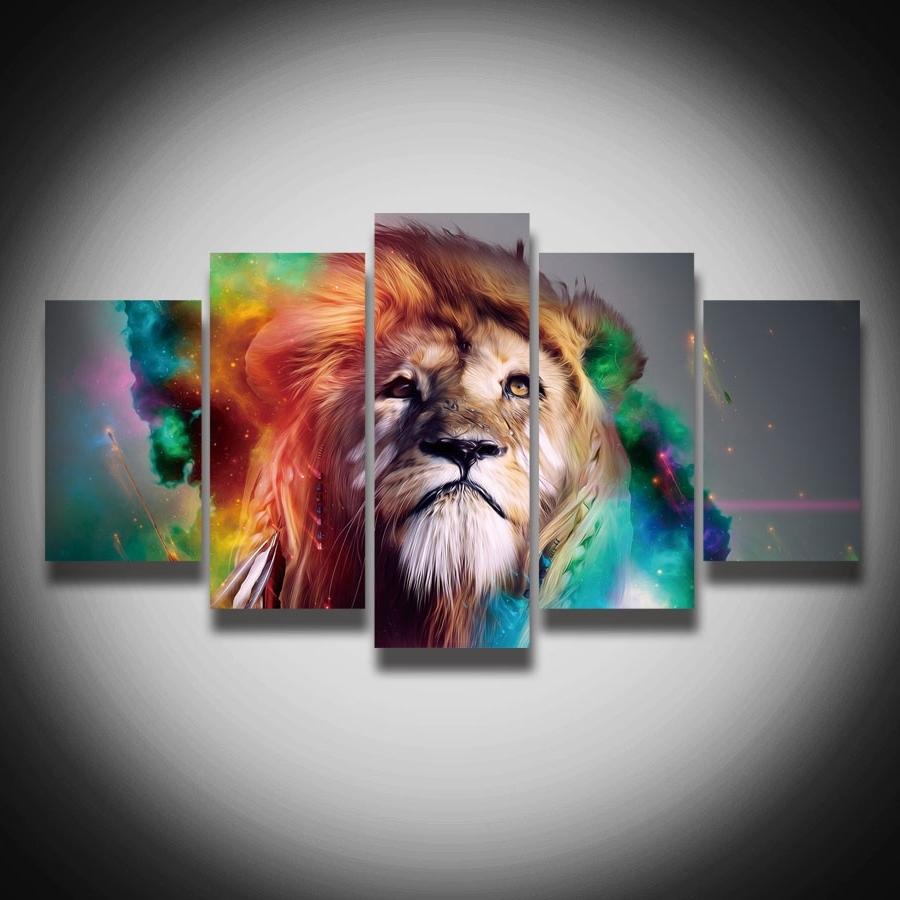 No Framed Printed Colourful Lion Animal Canvas Painting 5 Panels Throughout Favorite Abstract Lion Wall Art (View 2 of 15)