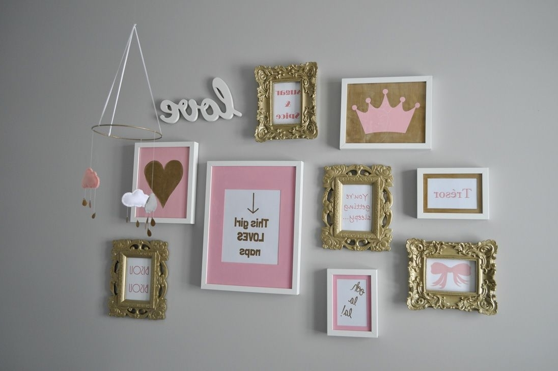 Nursery Framed Wall Art Pertaining To Current Decor Inspiration: A Pink, Gold, And Grey Nursery For A Baby Girl (View 12 of 15)