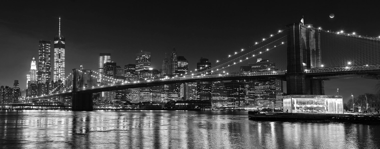 Nyc Photography, Brooklyn Bridge Panorama, Black U0026 White New York Regarding  2017 Metal Wall