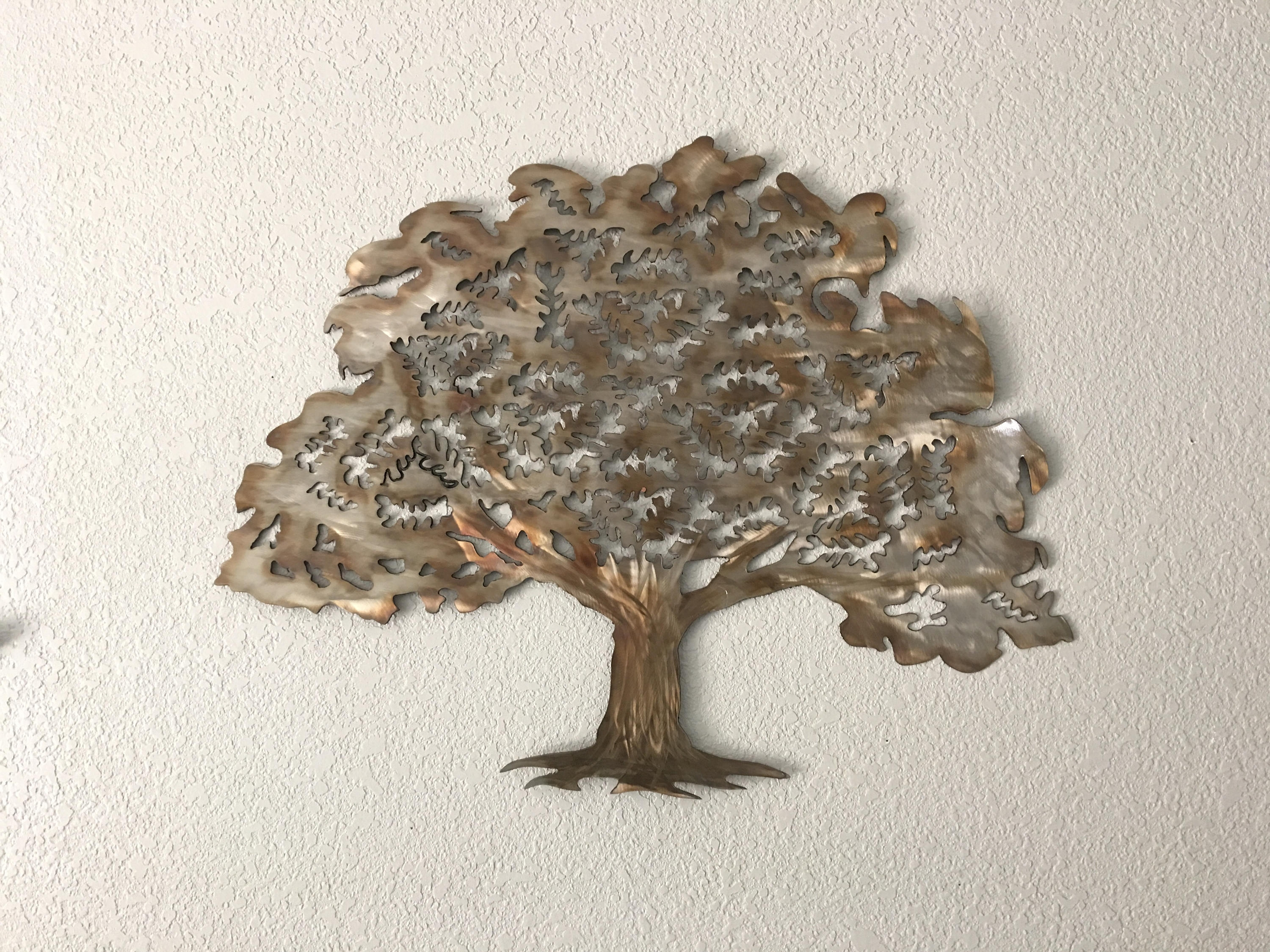 Oak Tree – Stainless Steel Tree – Wall Art – Home Decor Throughout Preferred Metal Oak Tree Wall Art (Gallery 8 of 15)