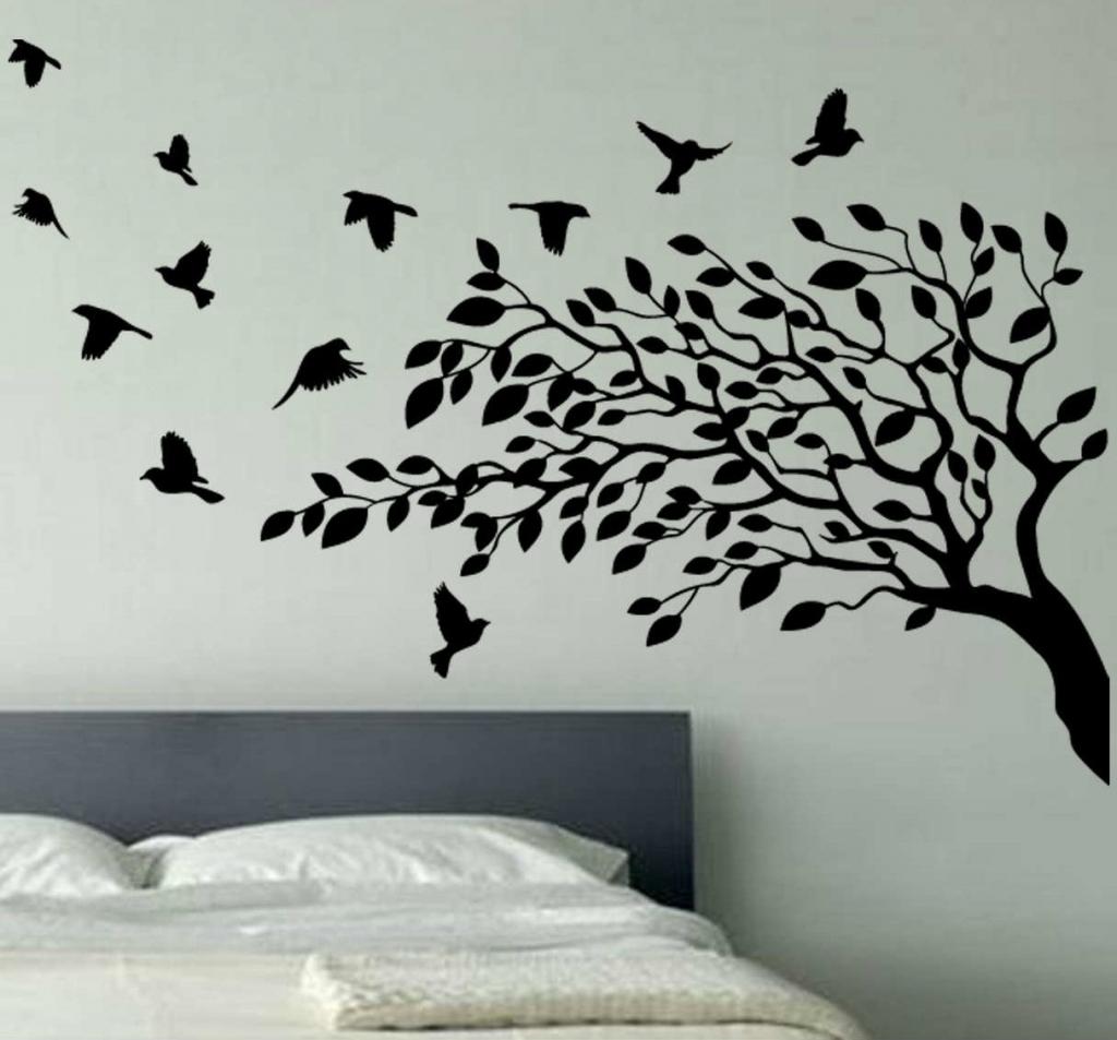 Oak Tree Vinyl Wall Art For Popular Wallpaper Wall Decals Stickers Art Vinyl Removable Birdcage Bird (View 6 of 15)