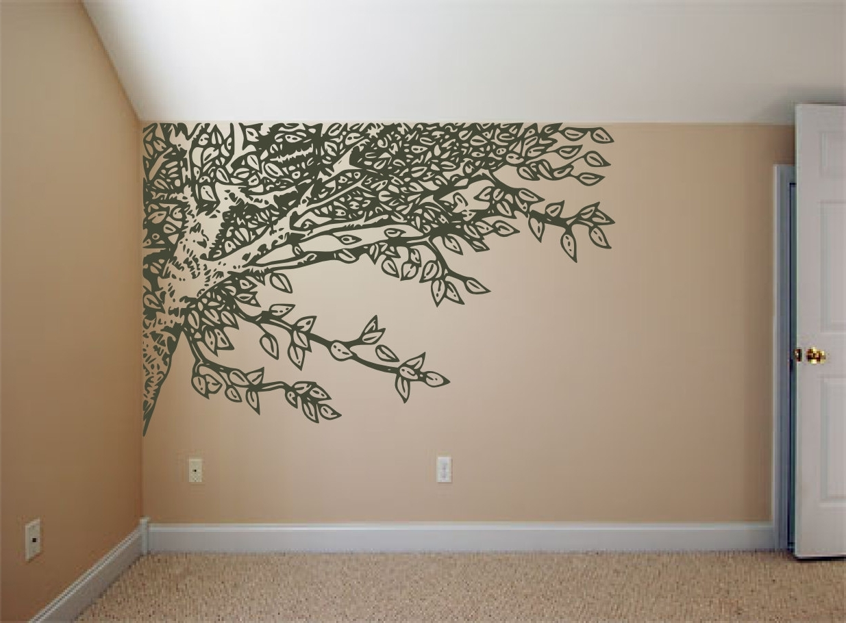 Oak Tree Vinyl Wall Art In Current Under An Oak Willow Tree – Nature Inspired – Vinyl Wall Art Decals (View 7 of 15)