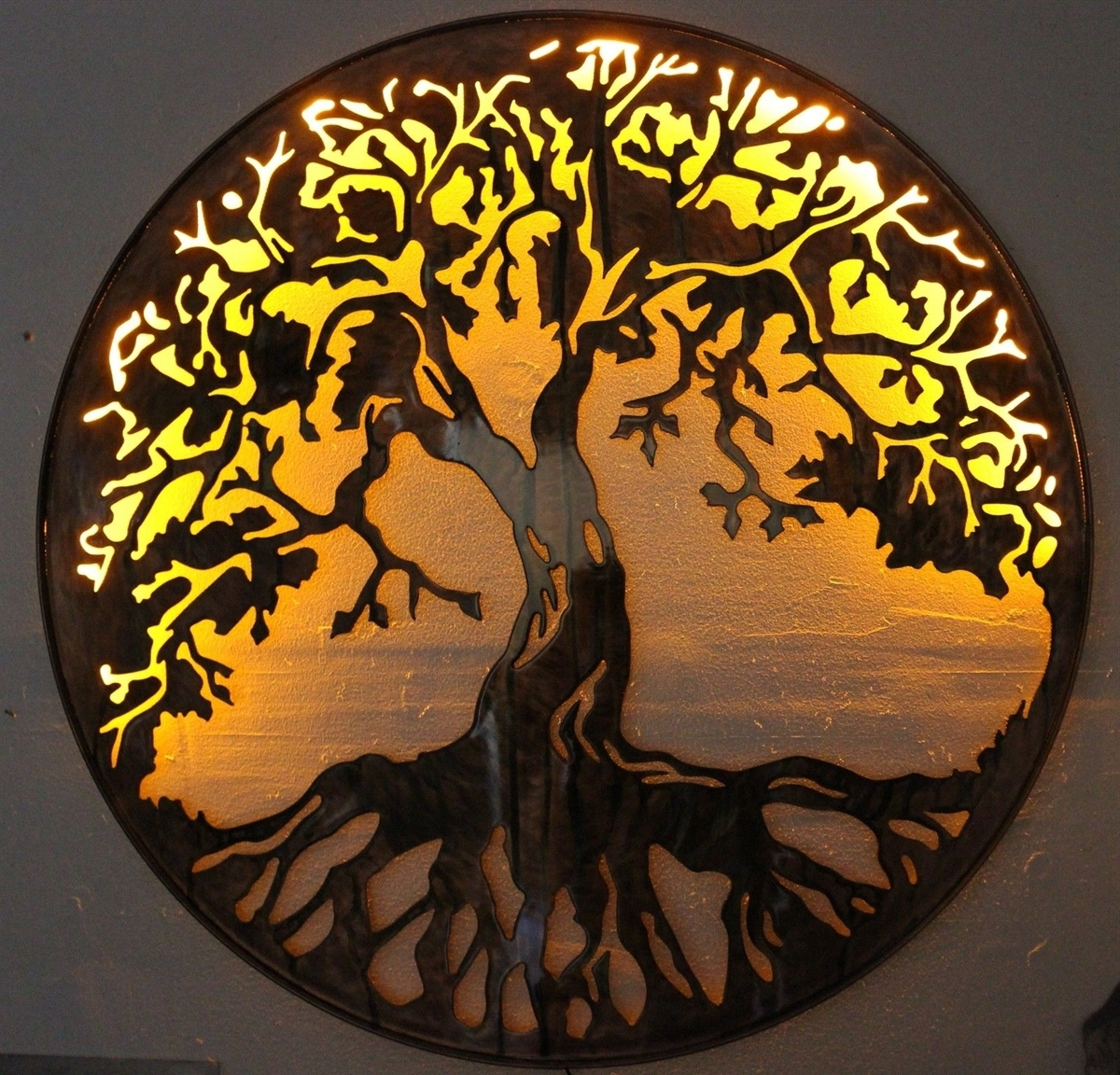 "Oak Tree Wall Art With Famous Of Life Metal Wall Art 24"" With Led Lightshgmw (Gallery 14 of 15)"
