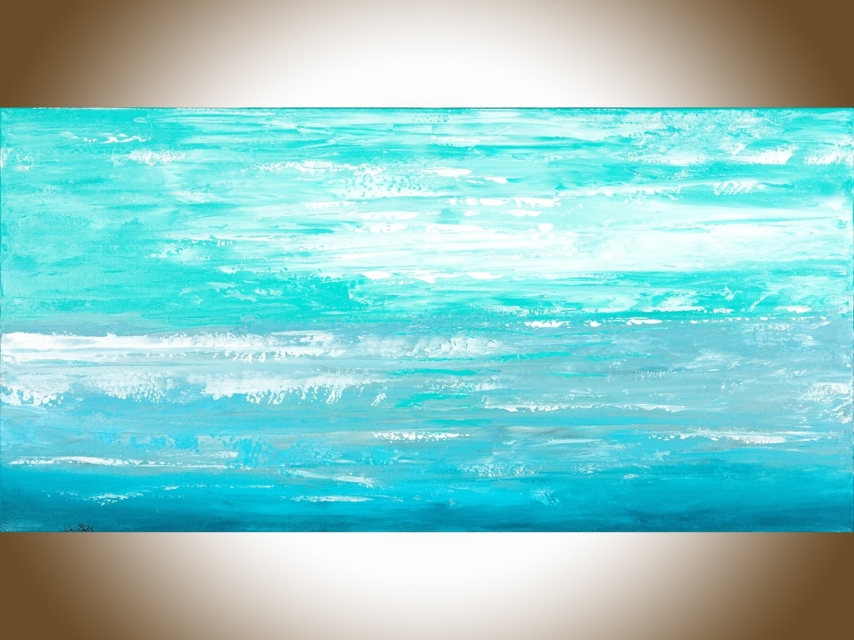 "Ocean Cloudqiqigallery 48"" X 24"" Abstract Painting Original With Regard To Most Recent Abstract Ocean Wall Art (View 6 of 15)"
