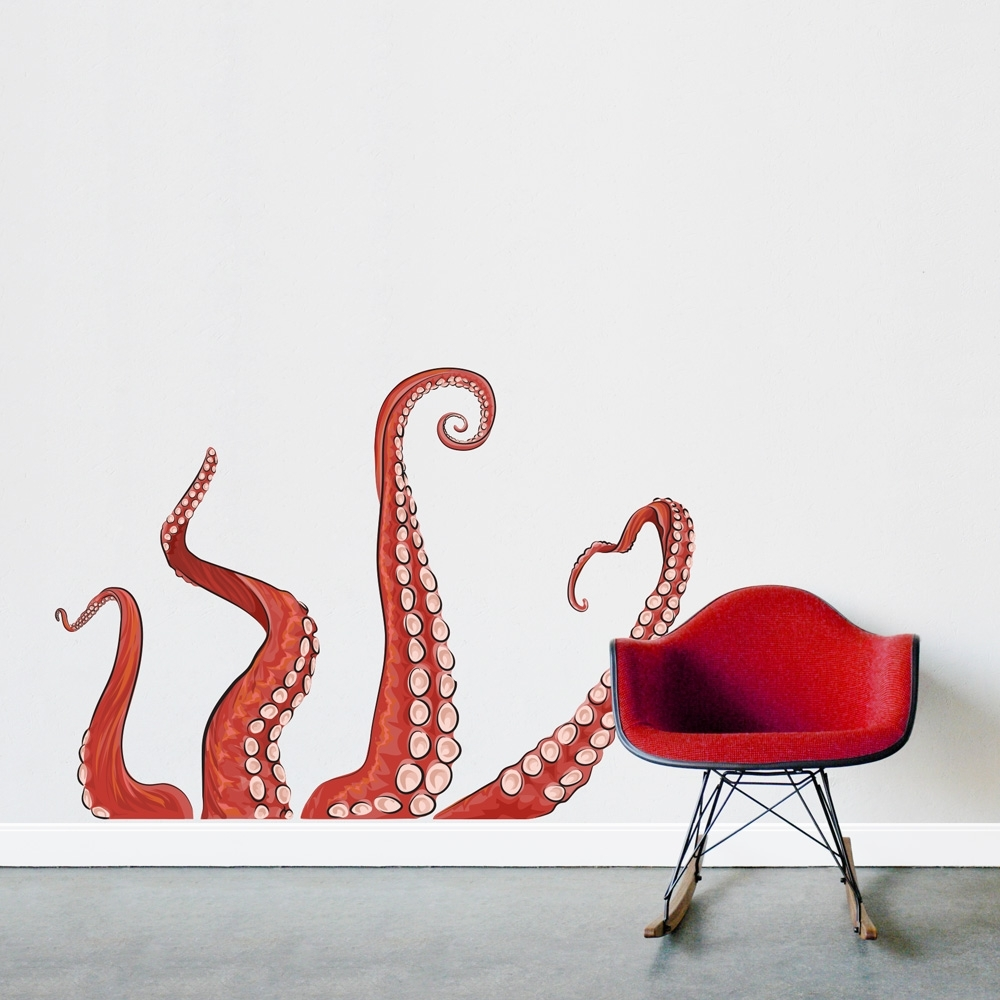 Octopus Tentacle Wall Art Inside Current Printed Wall Decal (View 7 of 15)