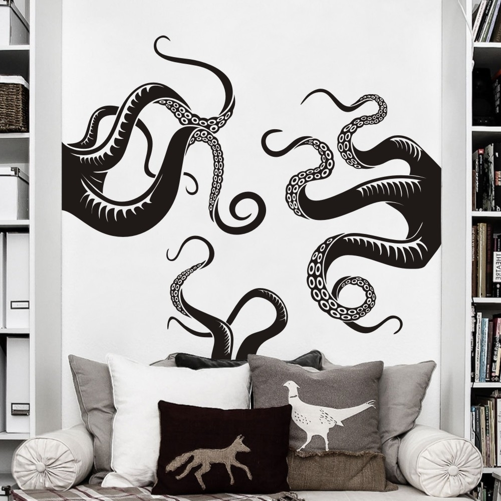 Octopus Tentacle Wall Art Pertaining To Most Recently Released Large Size Octopus Tentacles Vinyl Wall Art Sea Monster Kraken (Gallery 8 of 15)