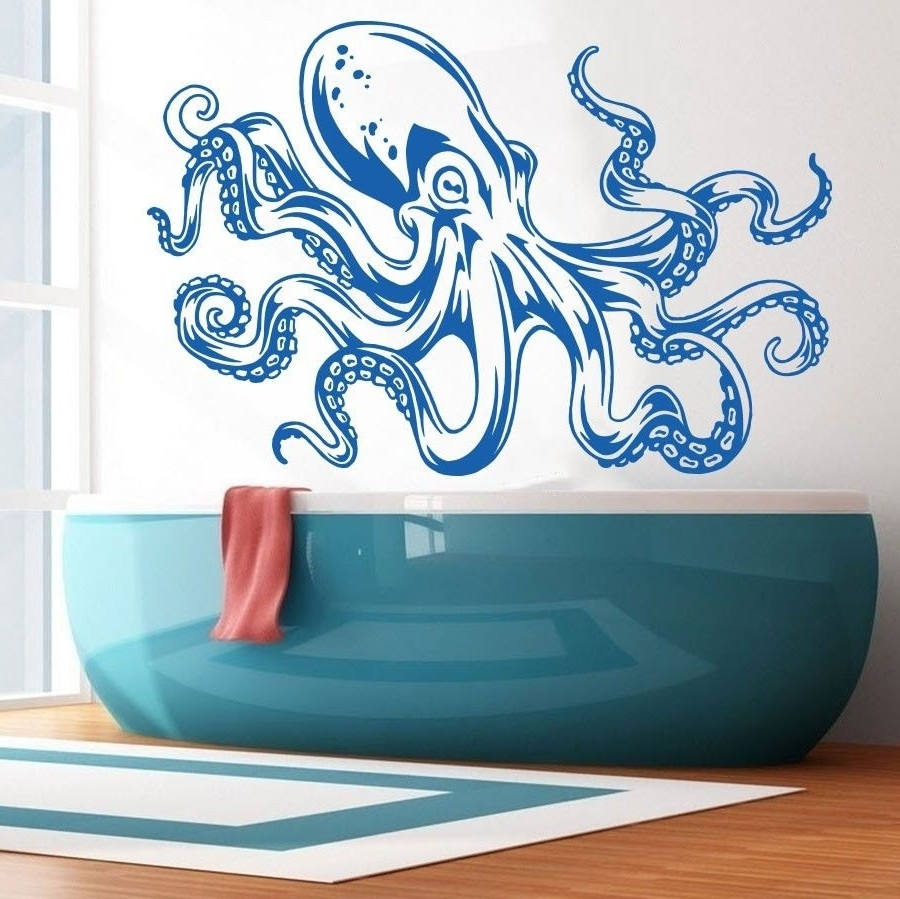 Octopus Tentacle Wall Art Within Famous Sea Ocean Animal Octopus Tentacles Wall Decal Art Decor Sticker (View 9 of 15)