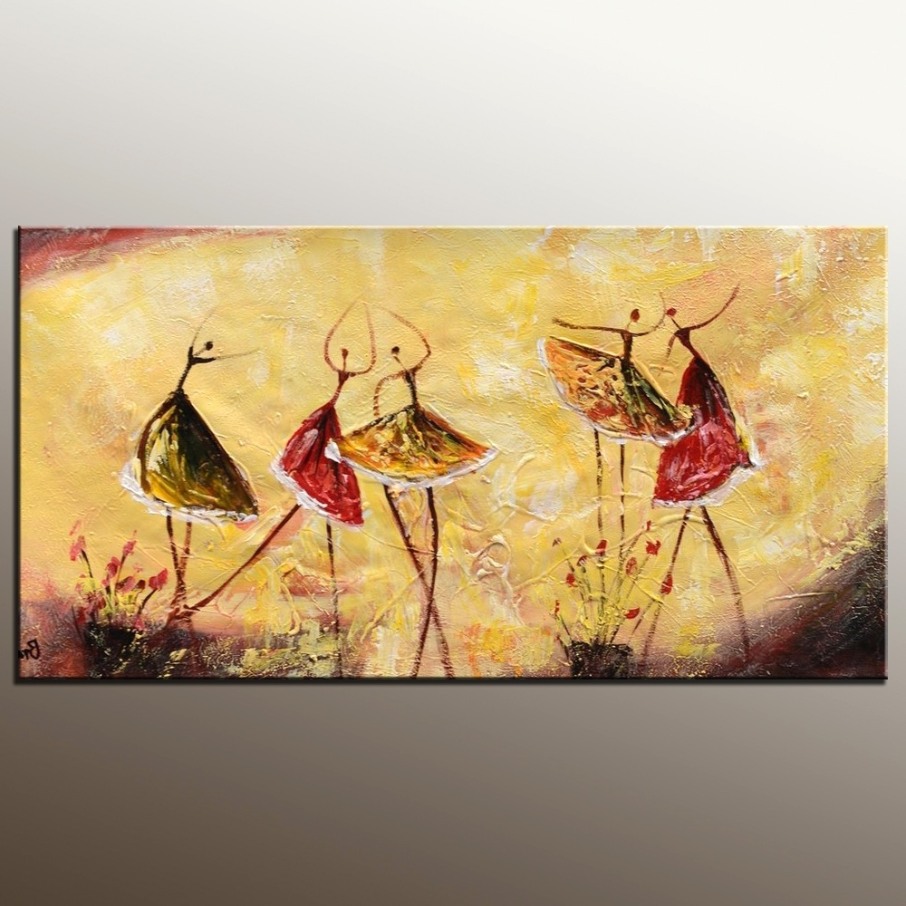 Oil Painting Wall Art On Canvas Inside Current Bedroom Wall Art, Abstract Painting, Ballet Dancer Painting (View 12 of 15)