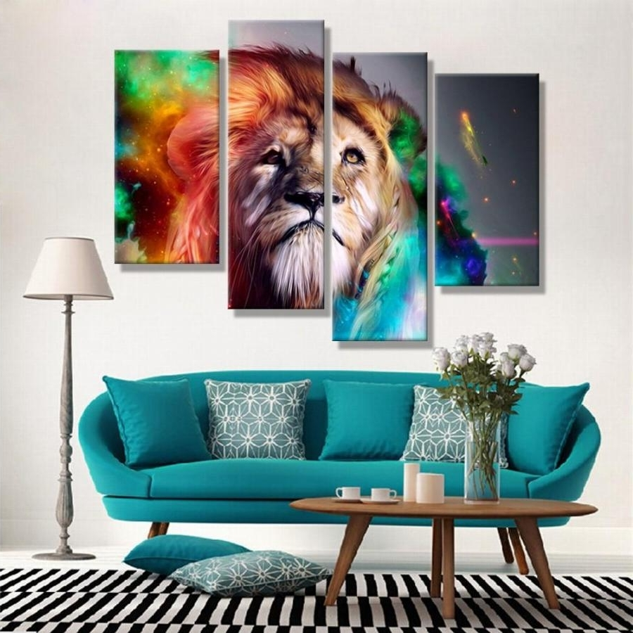 Oil Paintings Canvas Cheap Abstract Lion Colorful Animals Wall Art With Most Up To Date Affordable Abstract Wall Art (Gallery 5 of 15)