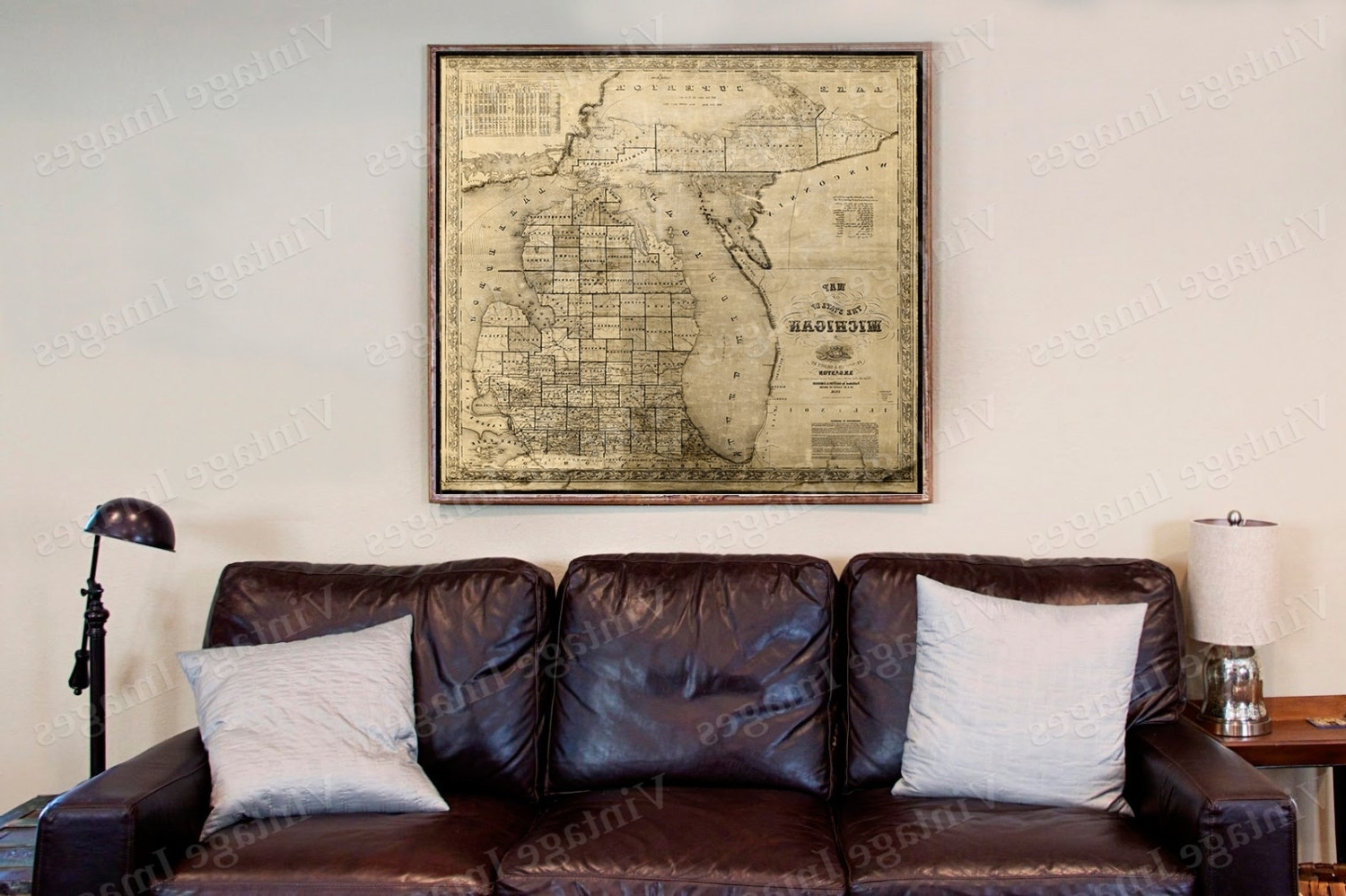 Old Michigan Map, Vintage 1856 Old Map Of Michigan Old Antique Intended For 2017 Antique Map Wall Art (View 10 of 15)