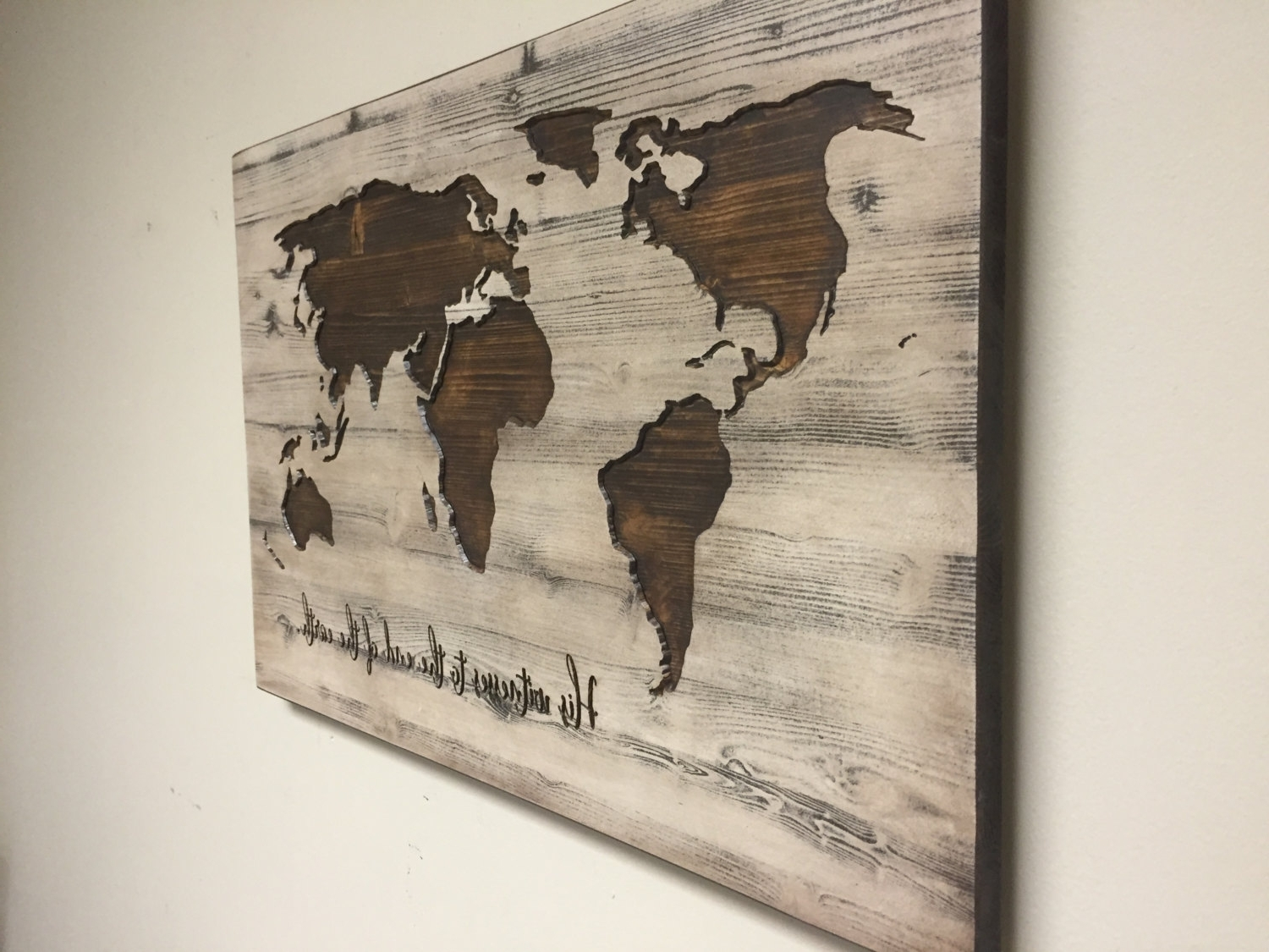 Old World Map Wall Art For Preferred World Map Wall Art Spiritual Vintage Carved Wood His With (View 4 of 15)