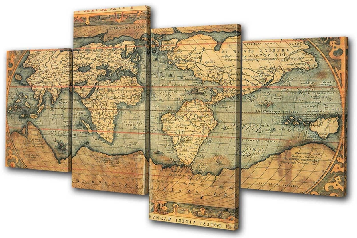 Old World Map Wall Art With Popular Old World Map Wall Art Ideas With 4 Piece Set (View 8 of 15)