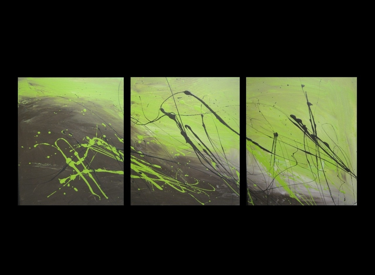 Olive Green Abstract Wall Art With Regard To Current 3 Abstract Canvas Painting Lime Green And Brown. Modern Wall Art (Gallery 2 of 15)