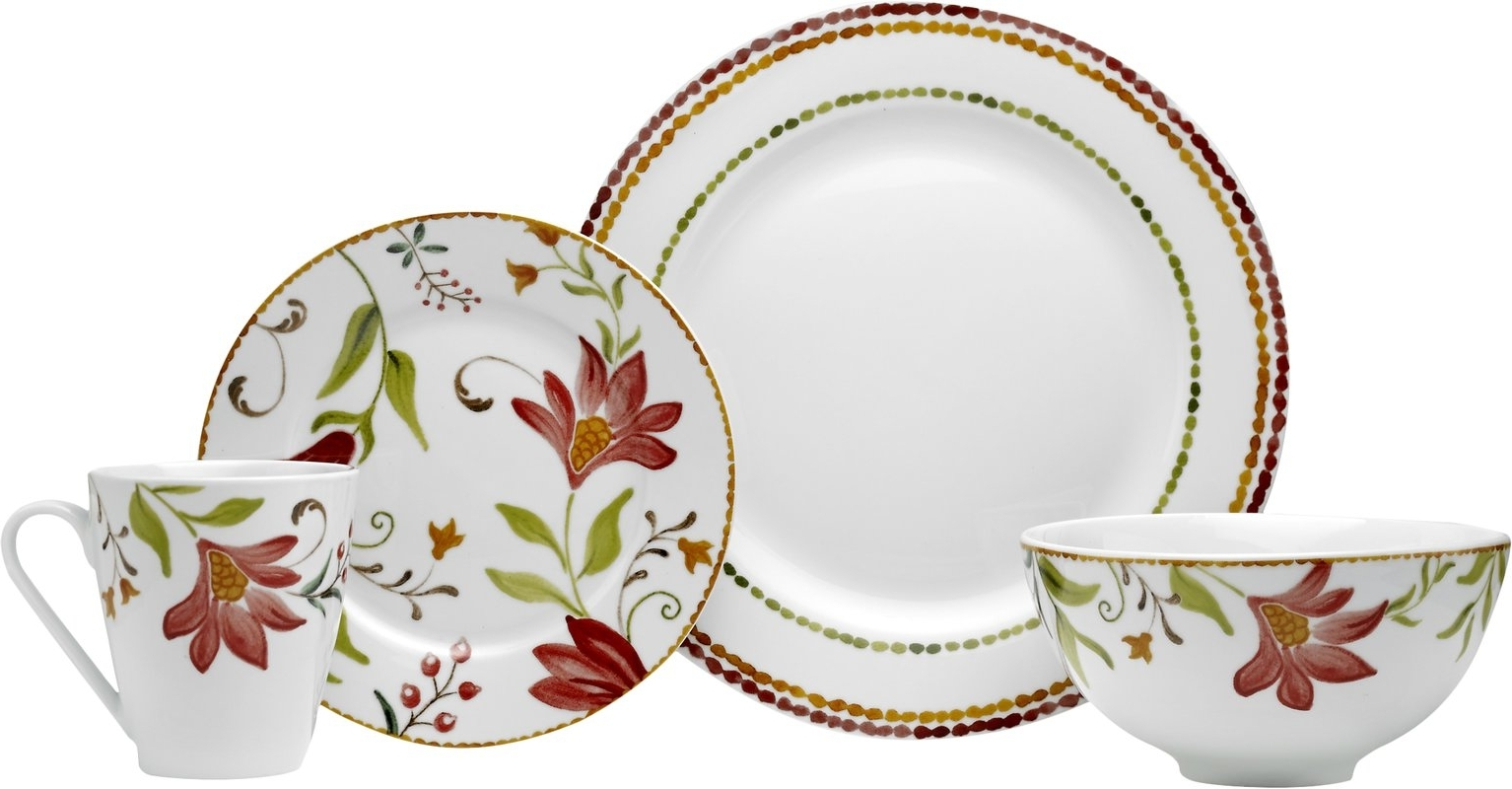 Oneida Italian Cypress 16 Piece Dinnerware Set, Service For 4 With Trendy Midnight Italian Plates Wall Art (Gallery 14 of 15)