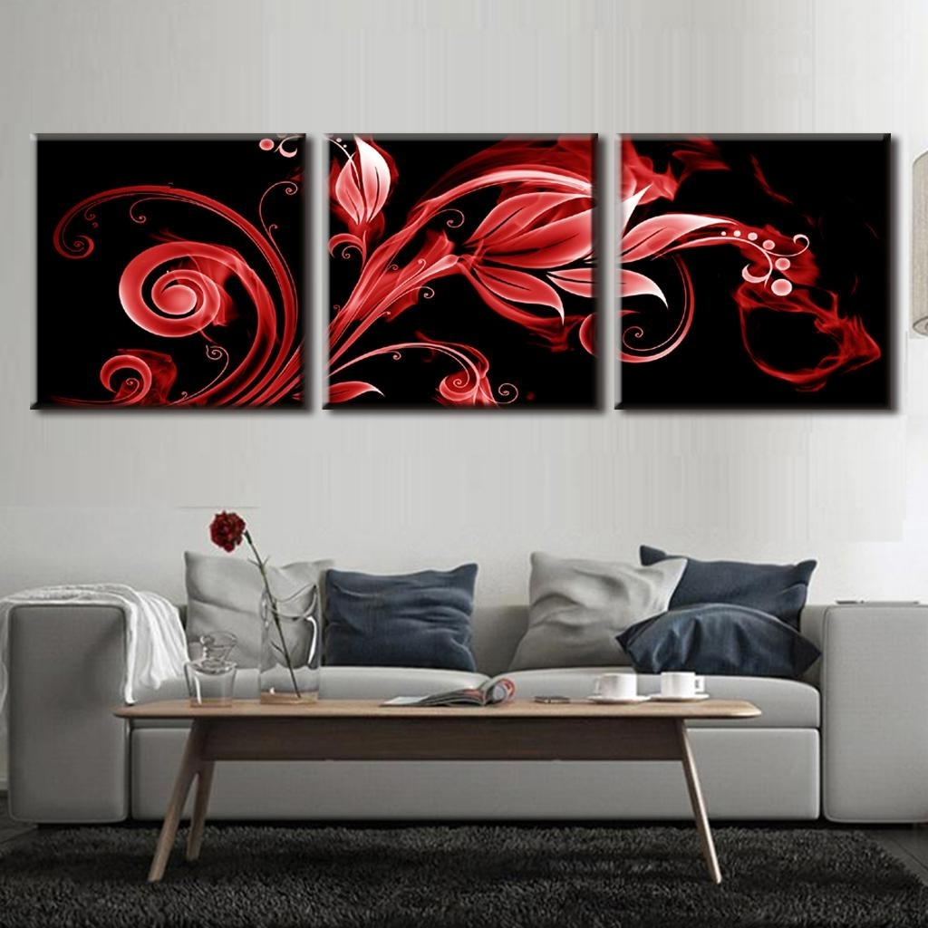 Online Shop 3 Pcs/set Abstract Red Flame Pattern Vertical Wall Art Throughout Recent Red And Black Canvas Wall Art (View 9 of 15)