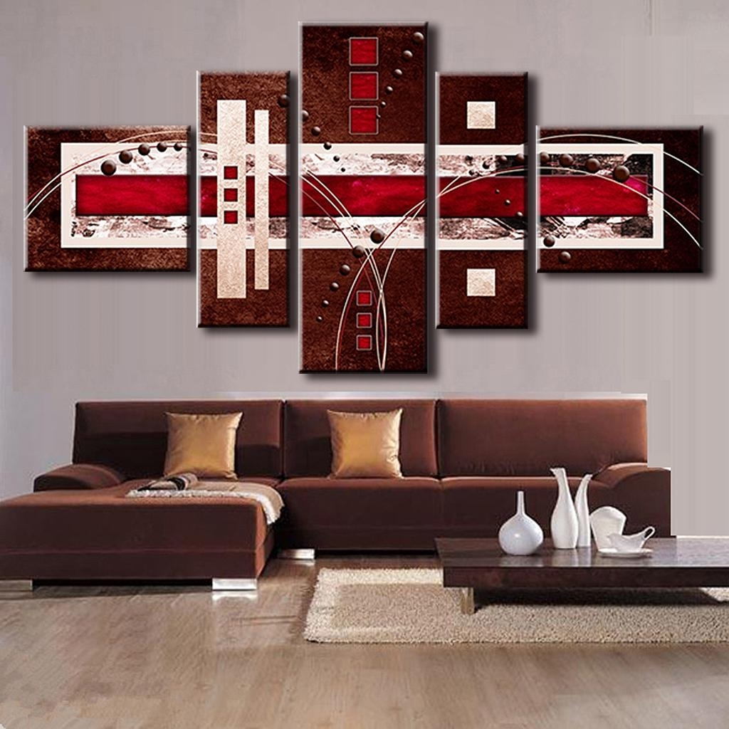 Online Shop 5 Pcs/set Combined Modern Abstract Oil Painting Brown Throughout Widely Used Abstract Wall Art Living Room (Gallery 11 of 15)