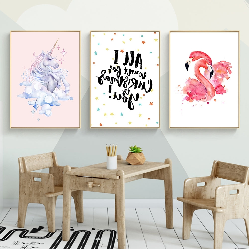 Online Shop Animal Flamingo Unicorn Nursery Canvas Posters And In Well Known Nursery Canvas Art (View 11 of 15)