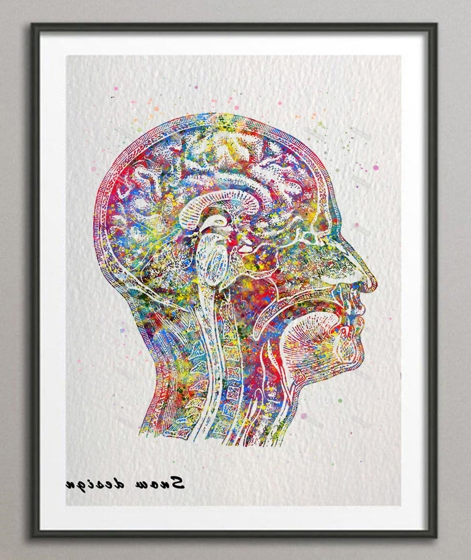 Online Shop Original Watercolor Human Head Poster Print Pictures Within Trendy Medical Wall Art (Gallery 14 of 15)
