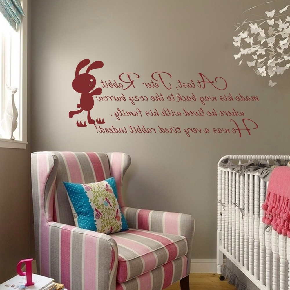 Online Shop Peter Rabbit Wall Quote – Baby Nursery Wall Decal Kids Throughout Popular Peter Rabbit Nursery Wall Art (View 6 of 15)
