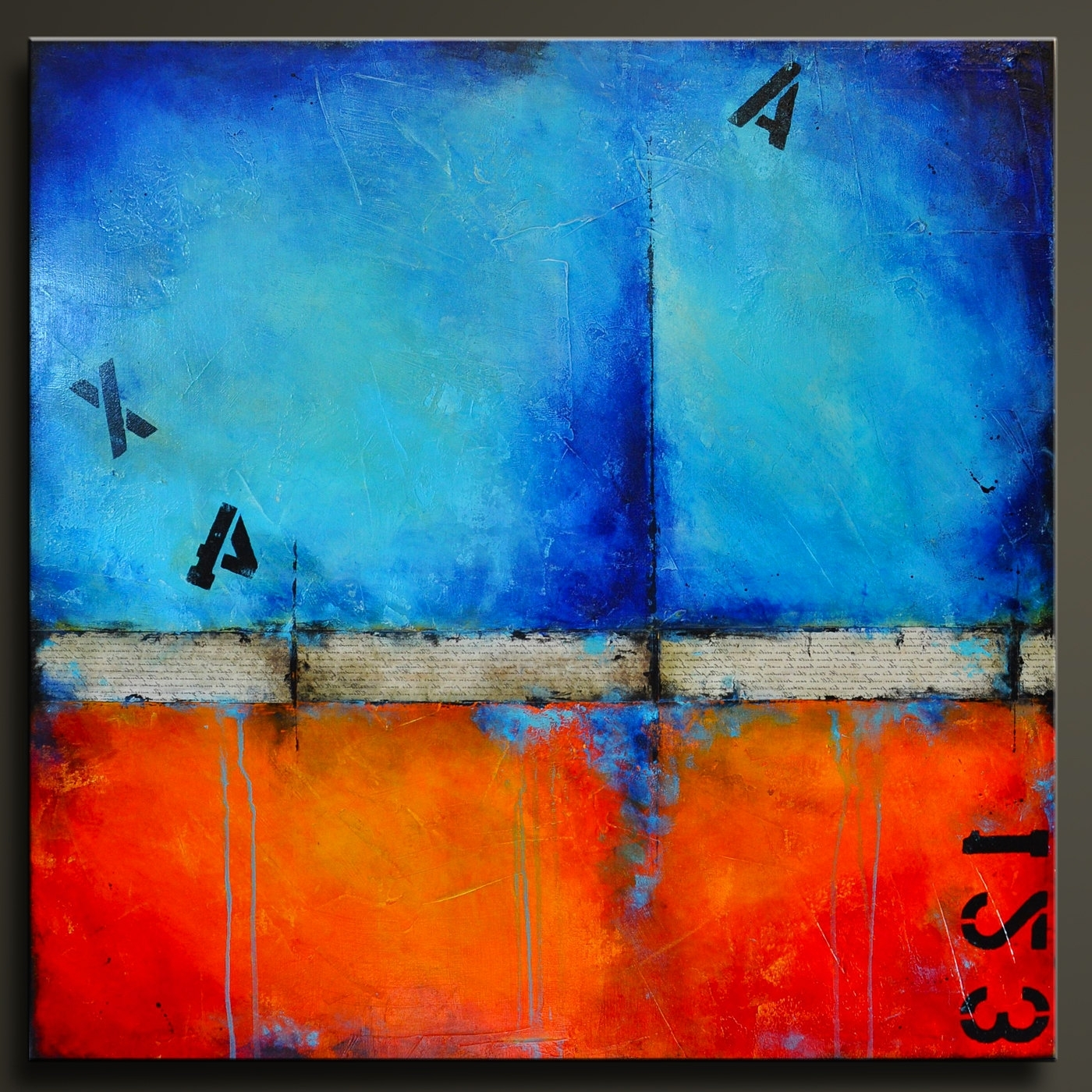 Orange And Blue Wall Art For Newest Urban Graffiti 2 – 36 X 36 – Abstract Acrylic Painting – Highly (Gallery 5 of 15)