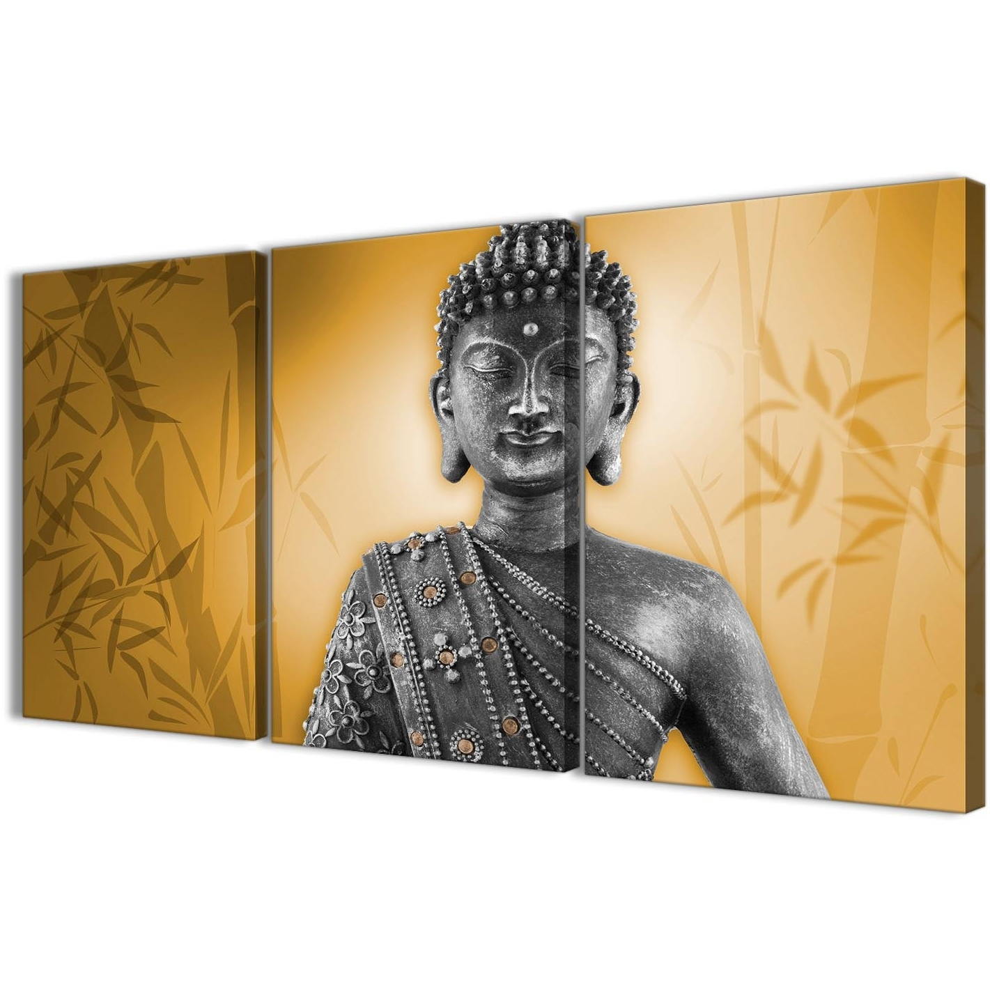 Orange And Grey Silver Canvas Art Prints Of Buddha – Multi Set Of In Preferred Silver Buddha Wall Art (View 8 of 15)